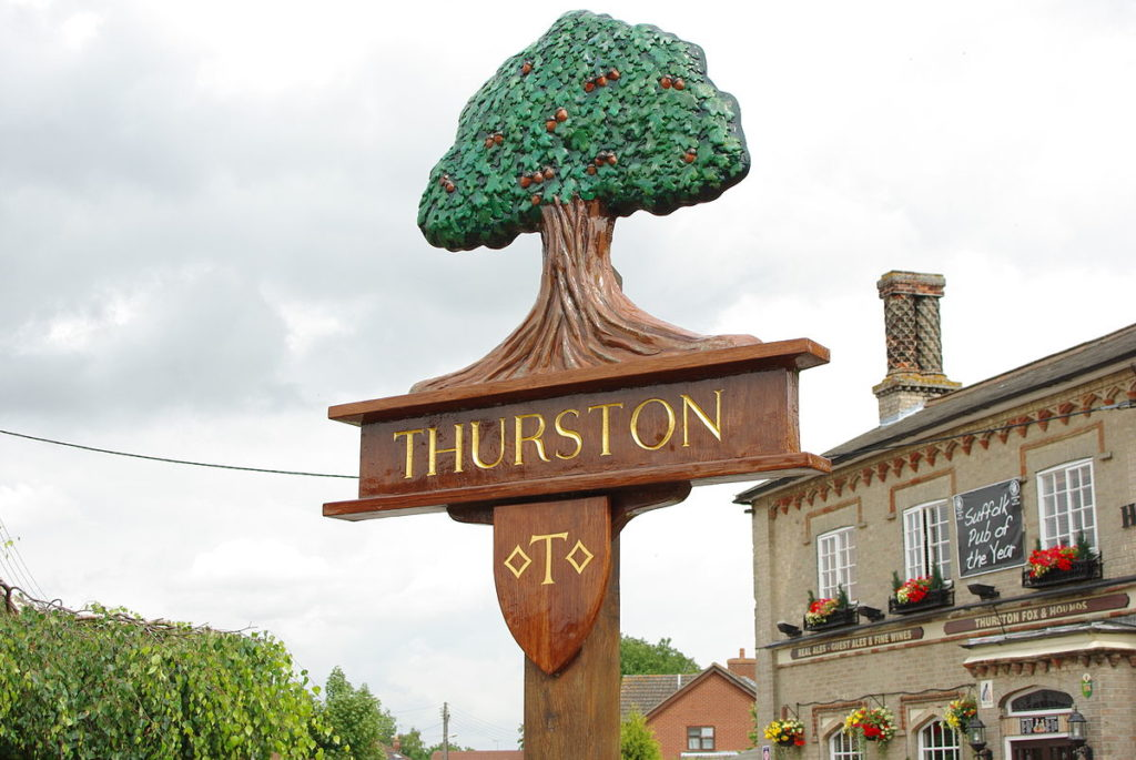 Thurston town sign, Suffolk